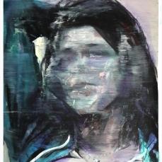 I. M., 1, 2018, huile sur papier, 60 x 50 cm