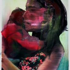 I. M. et son enfant 2, 2018, huile sur papier, 60 x 50 cm