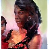 I. M. et son enfant 3, 2018, huile sur papier, 60 x 50 cm