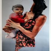 I. M. et son enfant 8, 2018, huile sur papier, 131 x 88 cm