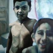 K. B. et son cousin, 2009, huile sur toile, 110 x 150 cm