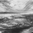 Vue de Djerba (oiseaux), 2007, fusain sur papier, 50 x 60 cm