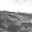 Vue de Djerba (terrain sec), 2007, fusain sur papier, 50 x 60 cm