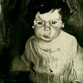 S. dans le couloir, 2007, fusain sur papier, 150 x 90 cm