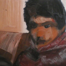 Enfant assi, 2010, huile sur toile, dimensions perdues