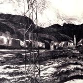 Panorama (mosquée, terrain vague, banlieue) 2007, fusain sur papier, dimensions perdues