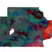 Fragments #1, été 2018, huile sur papier, 32 x 51 cm