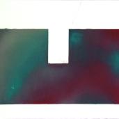 Fragments #3, été 2018, huile sur papier, 32 x 51 cm