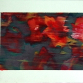 Fragments #8, été 2018, huile sur papier, 32 x 51 cm