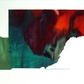 Fragments #10, été 2018, huile sur papier, 32 x 51 cm