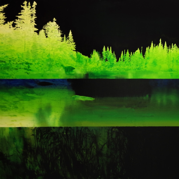 Aube/nuit, 2019, huile sur toile, 130 x 186 cm