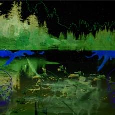 Lac, fleurs, aube, crâne, 2019, peinture à l'huile sur impression numérique, 67 x 101 cm