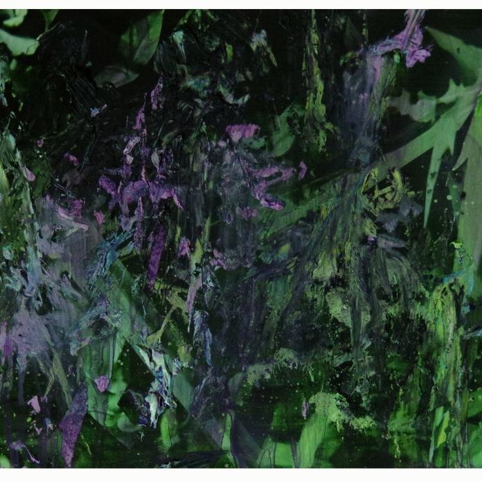 Buisson, 2019, peinture à l'huile sur impression numérique, 30, 5 x 46 cm